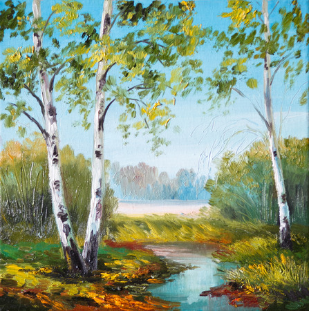 landscape painting: oil painting - birch in the field near the river, outdoor, wallpaper, tree, decoration