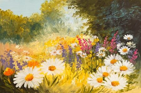 daisies: Oil Painting - field of daisies. colorfull art drawing, background, wallpaper, tree, decoration Stock Photo