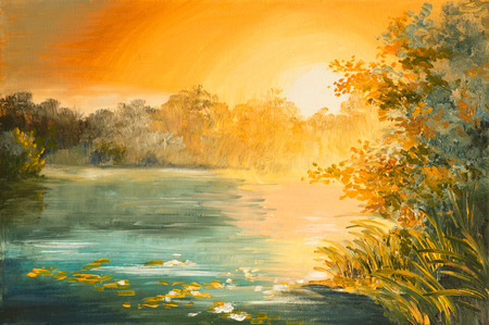 sun oil: Oil Painting - sunset on the lake, colorfull art drawing, autumn, yellow