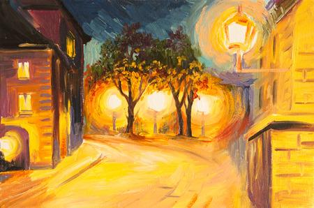 Oil Painting - evening street in Paris, view, european