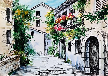 landscape architecture: Oil Painting, watercolor - flowers along the street, artwork; impressionism; design Stock Photo