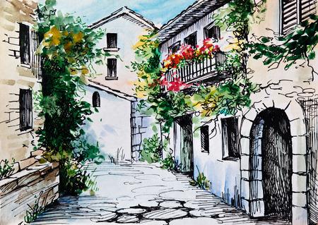 Oil Painting, watercolor - flowers along the street, artwork; impressionism; design Stock fotó