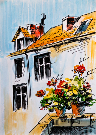 windowsill: Oil Painting, watercolor - flowers on the windowsill, Greek street, architecture