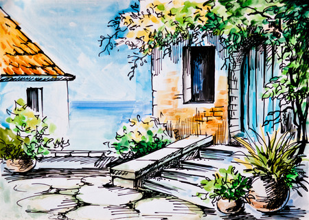 landscape architecture: Oil Painting, watercolor - flowers near the house, Greek street near the sea,  spring; trees; south Stock Photo