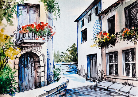 landscape architecture: Oil Painting, watercolor - flowers along the street, spring; province Stock Photo