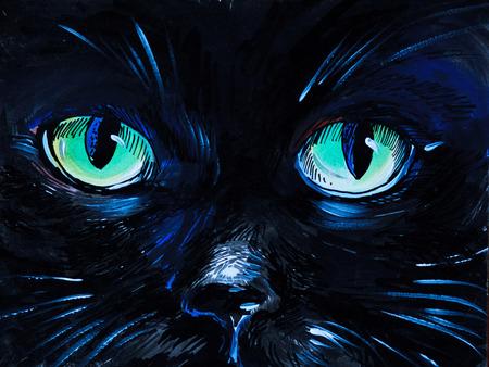 Acuarela - ojos de gato, negro, tarjeta, clip Foto de archivo - 35891496