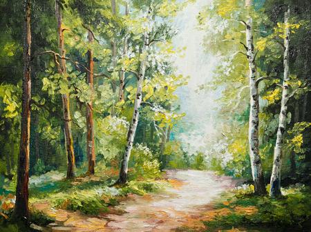 夏の森、秋には、背景、美しいキャンバス油彩画