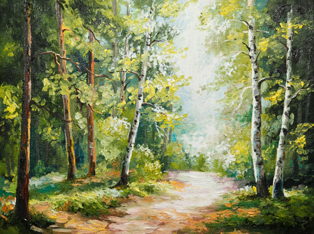 oil painting on canvas - summer forest, autumn, background, beautiful
