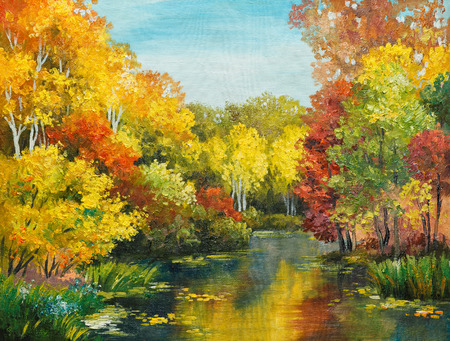 impressionism: oil painting on canvas - colorfull autumn forest,  impressionism, design, color