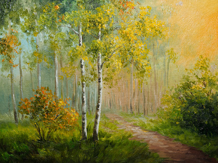 oil painting on canvas - birch forest, abstract drawing, made in the style of Impressionism, green, spring