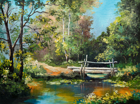 fall landscape: oil painting on canvas - bridge in the forest, outdoor, tree