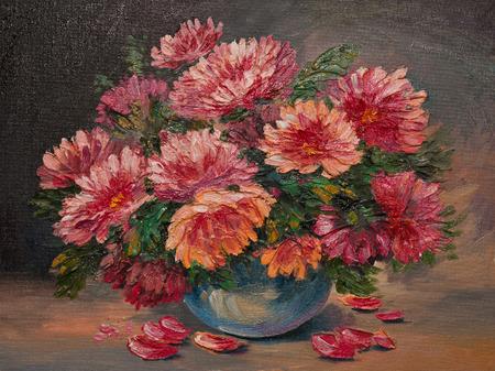 油絵キャンバスにテーブルの上の静物花装飾、デザイン 写真素材 - 35891508