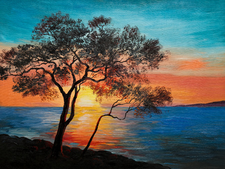 oil painting on canvas - tree near the lake at sunset, wallpaper; decoration 스톡 콘텐츠
