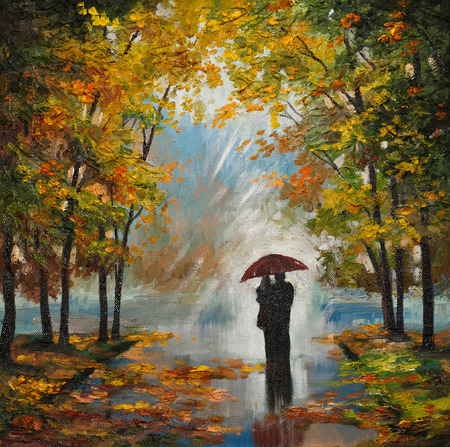 oil painting on canvas - couple in the forest, outdoors, sky, art, artistic, style, background Foto de archivo