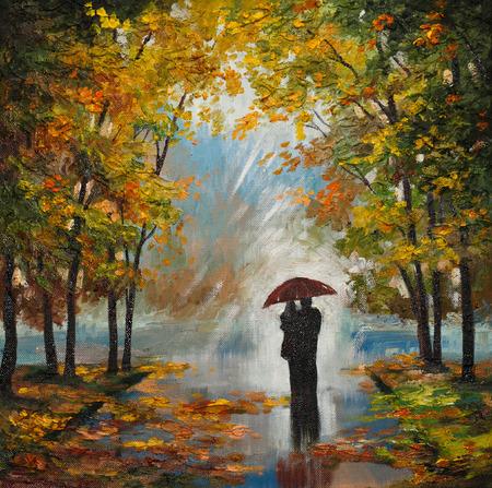 pintura al óleo sobre lienzo - pareja en el bosque, al aire libre, cielo, arte, artístico, estilo, fondo
