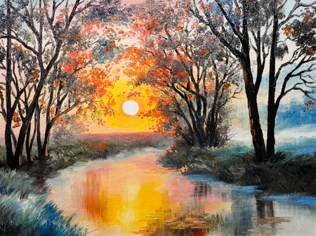 oil painting: oil painting on canvas - the river, watercolor, wallpaper, tree Stock Photo