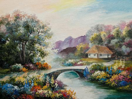油絵キャンバスに森、秋には、黄色、フィールドでウクライナの家 写真素材