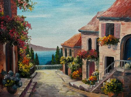 paisaje mediterraneo: pintura al óleo sobre lienzo - casa cerca del mar, europa, el volcán Foto de archivo