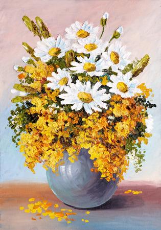 Olieverf - stilleven, een boeket van bloemen, madeliefjes, behang; decoratie Stockfoto