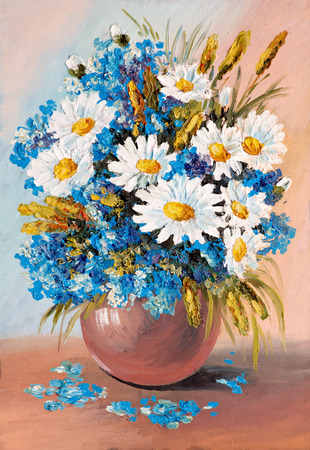 油絵・静物、花、花瓶、農業の花束