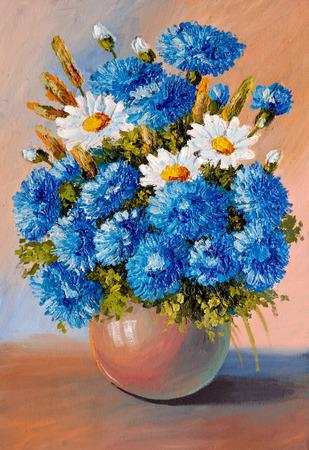 油絵・静物、花、花瓶、装飾; の花束デザイン