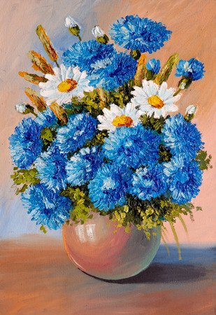 Oil Painting - still life, a bouquet of flowers, vase, decoration; design Stock Photo