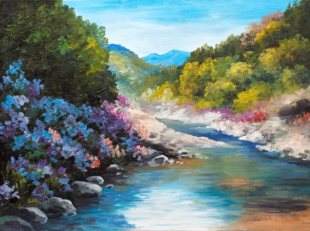 Oil Painting - mountain river, flowers near the rocks, forest, outdoor; wallpaper; decoration Foto de archivo