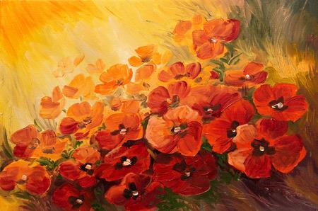 Dipinto ad olio - illustrazione astratta di papaveri su uno sfondo rosso-giallo, carta da parati Archivio Fotografico - 35891718