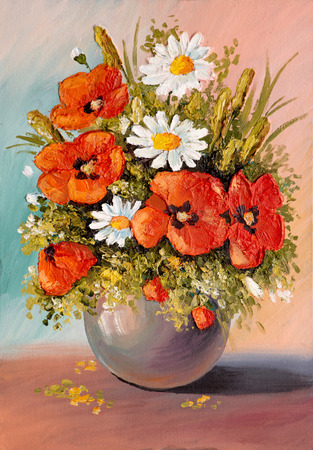 Oil Painting - still life, a bouquet of flowers, poppies, wallpaper; decoration