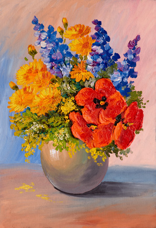 Oil Painting Still Life A Bouquet Of Flowers Vase Decoration