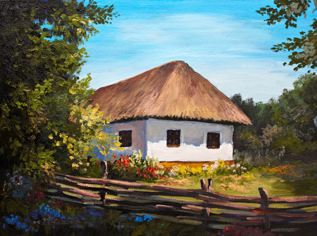 thatched: Oil Painting - Farmhouse in the forest, sunshine Stock Photo