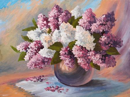 유화 - 라일락의 꽃다발, 테이블, 인상주의; 자연; 여름; 벽지