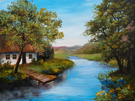 pier: Oil Painting - Farmhouse near the river, river blue, blue sky, summer forest, green field full of flowers, pier near river, outdoor; wallpaper
