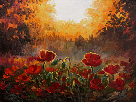 Oil Painting - abstract illustration of poppies on a red-yellow background, decoration; design Stock fotó