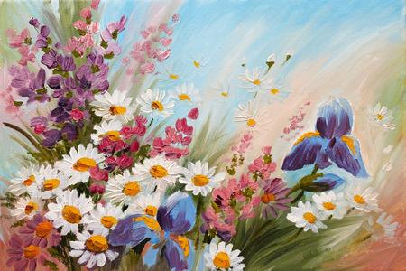 Oil Painting - abstract illustration of flowers, daisies, greens, wallpaper, decoration