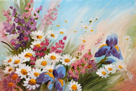 Dipinto ad olio - illustrazione astratta di fiori, margherite, i verdi, carta da parati, decorazione Archivio Fotografico - 35891728