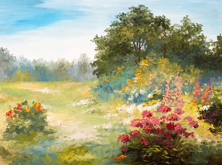 landscape painting: Oil Painting - field with flowers and forest, summer day,  wallpaper; tree; decoration