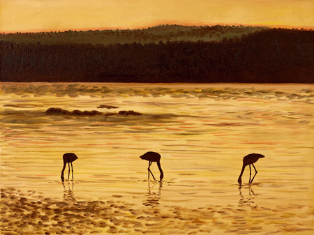 flamingos: Oil Painting - flamingos at sunset, sea and mountains, twilight, abstract, decoration; design