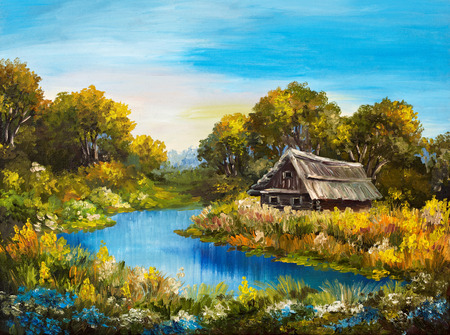 oil painting: Oil Painting - Farmhouse near the river, river blue, blue sky, summer forest, green field full of flowers, beautiful Stock Photo