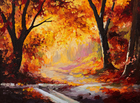 Oil Painting - autumn forest, bright leaves, wallpaper; tree; decoration