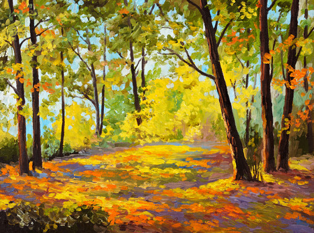 Oil Painting - Autumn forest, leaves, trees, decoration; autumn