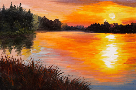 sunset painting: oil painting - lake in a forest, sunset. abstract painting, art work was performed in the style of Impressionism, wallpaper, watercolor Stock Photo