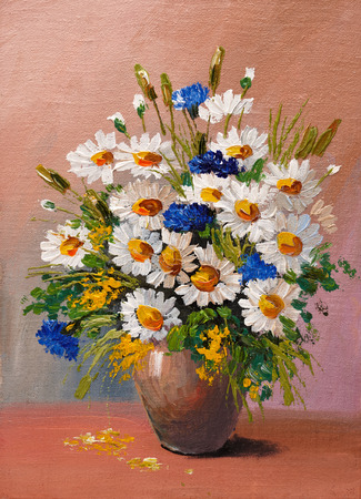 sun oil: oil painting - still life, a bouquet of flowers, daisies, decoration, design