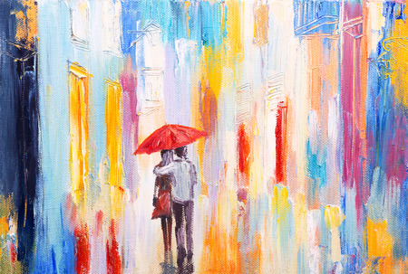 fall landscape: couple is walking in the rain under an umbrella, abstract colorful oil painting