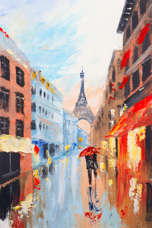 abstract painting: couple walking on the streets of Paris against the backdrop of the Eiffel Tower, abstract oil painting