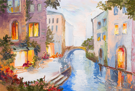 canvas texture: Oil painting - canal in Venice, Italy, modern impressionism, colorful art