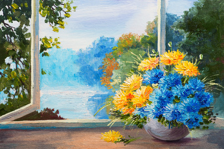 油絵、窓際のテーブルに春の花の花束 写真素材