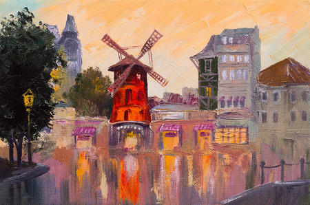 impressionism: Oil painting cityscape - Moulin rouge, Paris, France. colorful art Stock Photo