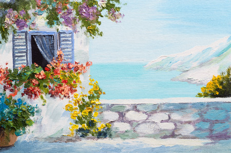 mediterranean houses: Oil painting landscape - terrace near the sea, flowers Stock Photo
