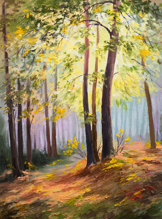 spring landscape, trees in the forest, colorful oil painting